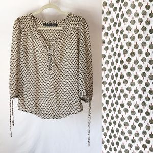 Zara TRF Collection Sheer Blouse w Tree Design Med